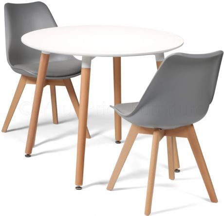 Toulouse Tulip Eiffel Designer Dining Set White Round Table & 2 Grey Chairs Sale Now On Your Price Furniture